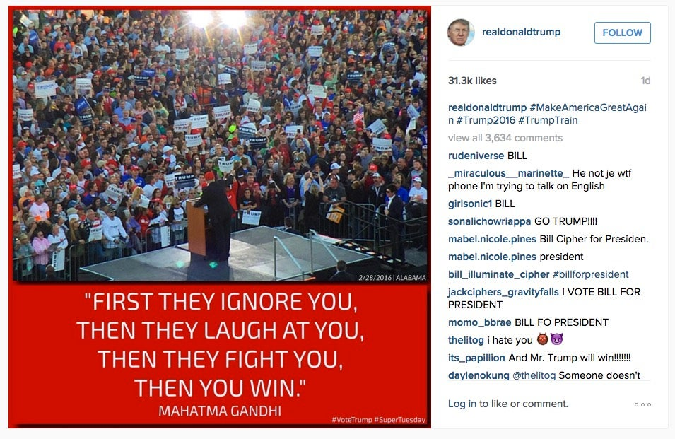 Trump Used a Fake Gandhi Quote on Instagram to Make America Great Again (Update: Bernie Used It Too)