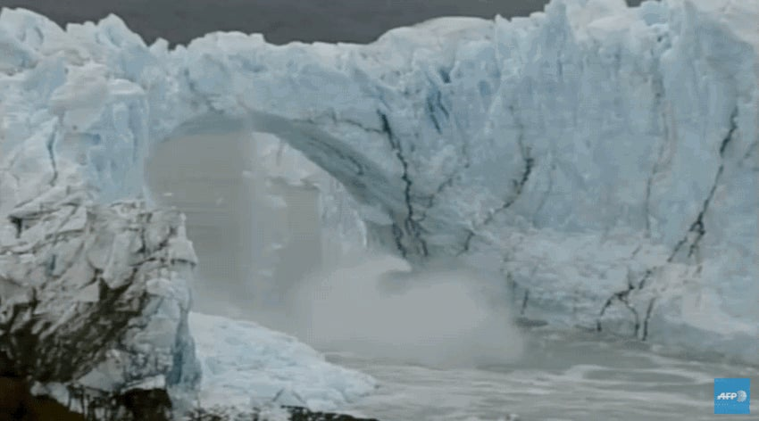 Patagonian Ice Bridge Collapses in Spectacular Fashion