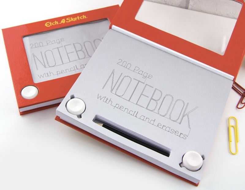 Drawing On an Etch-A-Sketch Notebook Is Easier With a Pencil