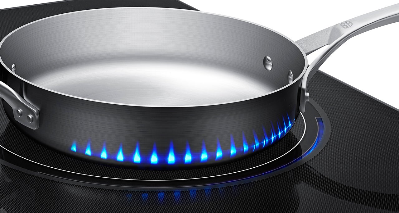 Fake LED Flames Indicate How Hot Samsung's New Induction Stove Gets