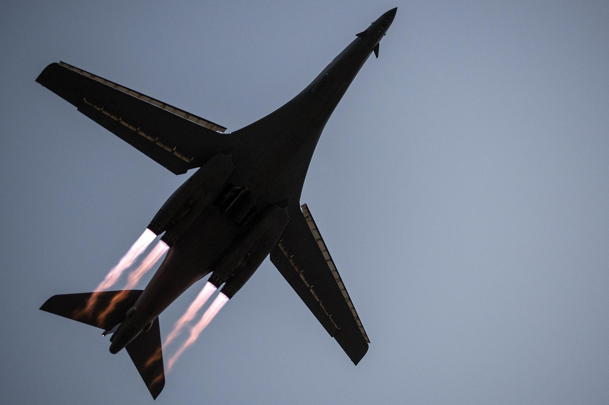 Awesome Underneath Angle Of A B-1B Lancer Taking Off