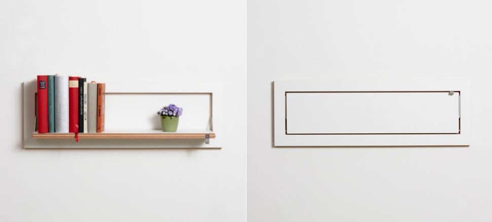 Reminiscent of those wall mounted foldaway beds these shelves hinge