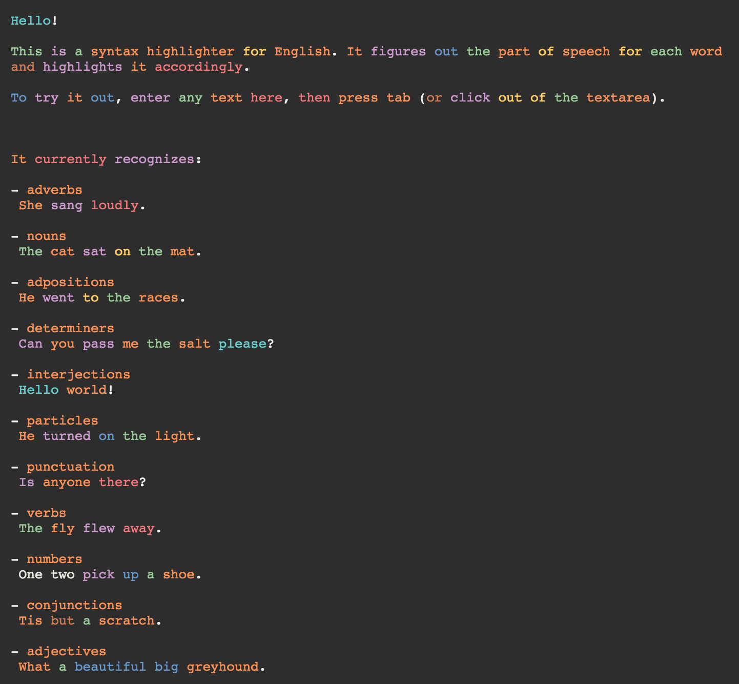 This Web App Highlights English Syntax Like It's Code