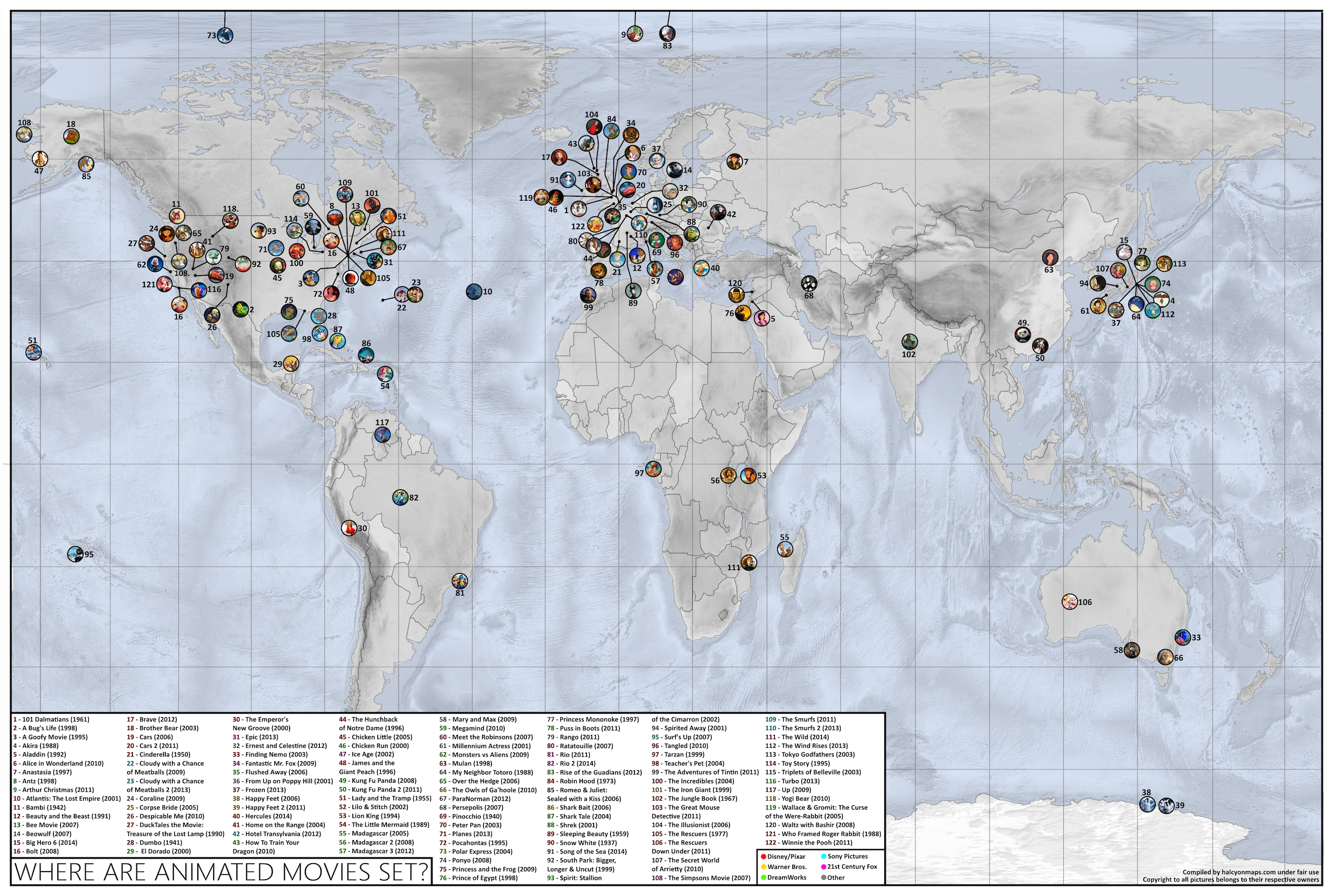 Map Shows The Location Of Popular Animated Movies Across The World