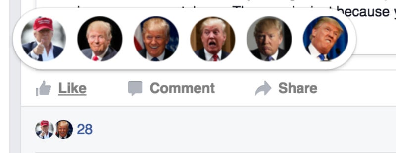 How to Swap Facebook's New Reaction Emojis With Donald Trump or Pokémon