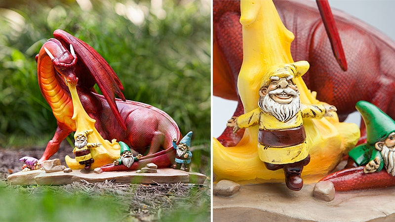 A Fire-Breathing Dragon Scorching Gnomes Is the Only Garden Decor You Need