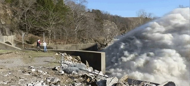 What It Looks Like When a Dam Releases 13,000 Cubic Feet of Water Per Second