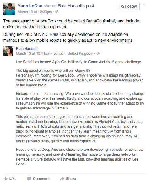 Facebook Nerd Throws Heavy Shade at Google Over AlphaGo Victories