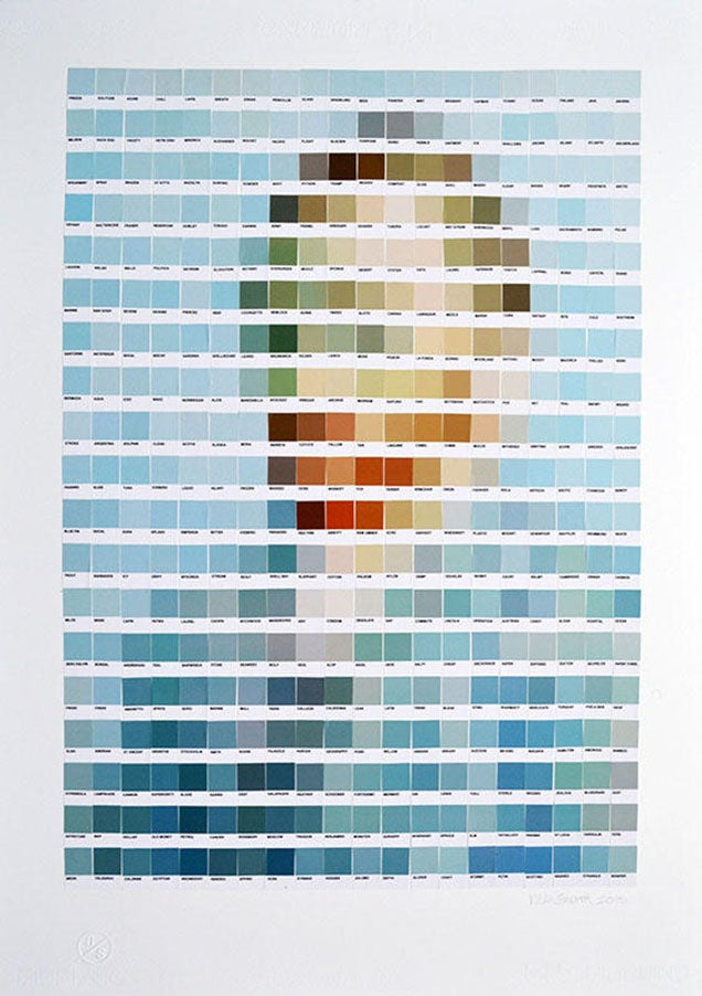 Classic paintings recreated using Pantone colour chips