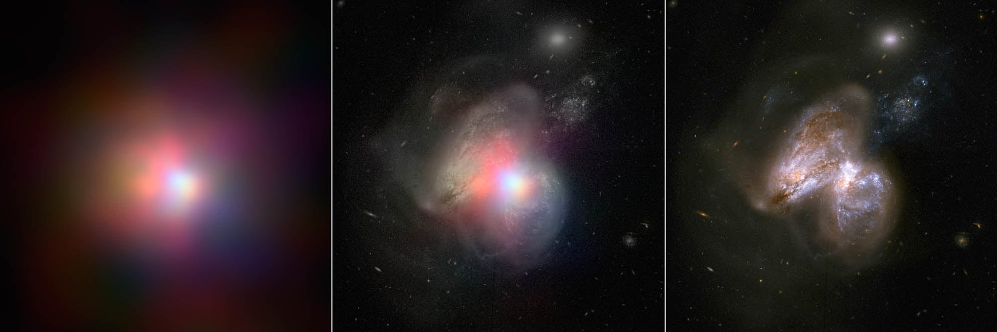 Here Are Two Galaxies With Supermassive Black Hole Hearts Colliding
