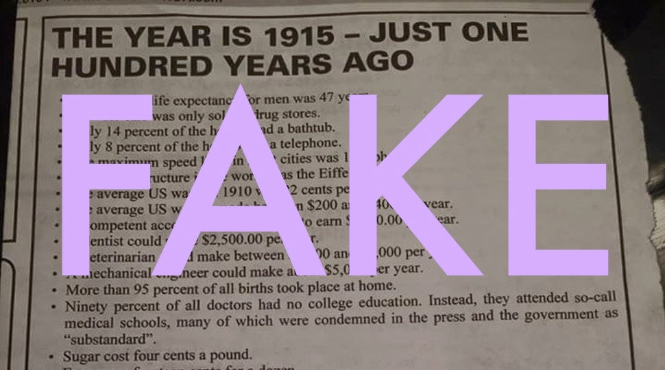 This Viral List About 1915 Is Full of Lies