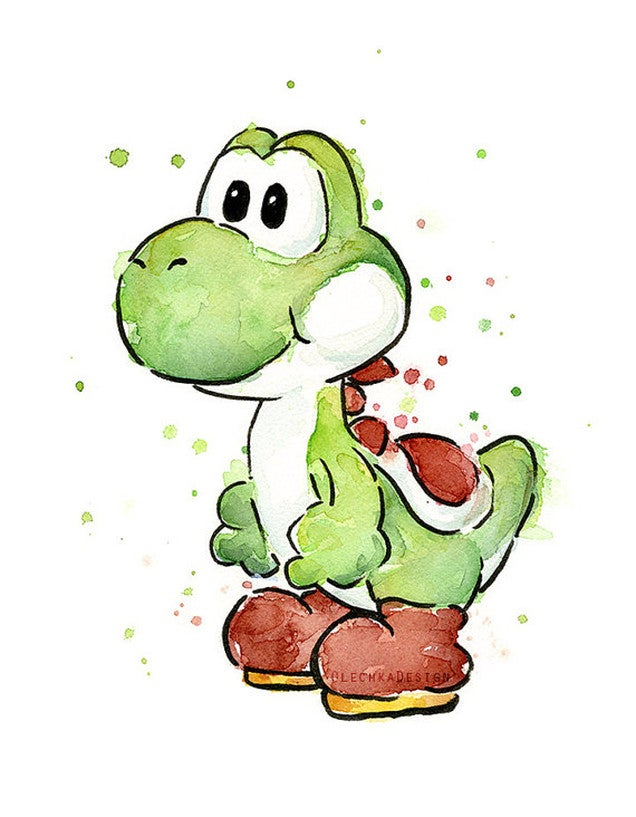 Yoshi Character Design : Watercolours really bring out the beauty in mario