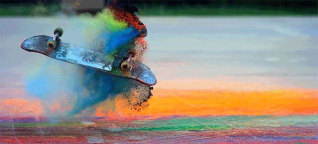 Skateboard Tricks Look Even Cooler with Coloured Paint Powder Flying Everywhere