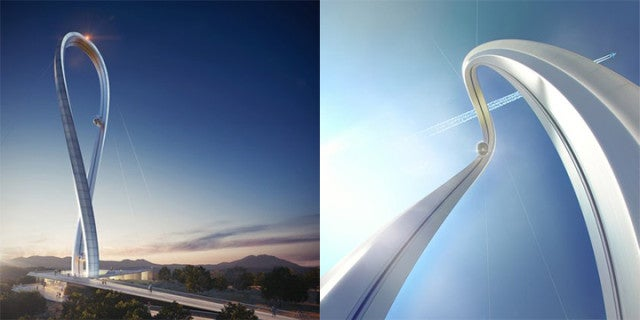 Crazy tower design takes people in glass pods on a roller coaster loop