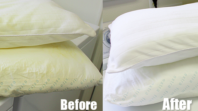make yellow pillows look like new again with a diy whitening solution. Black Bedroom Furniture Sets. Home Design Ideas
