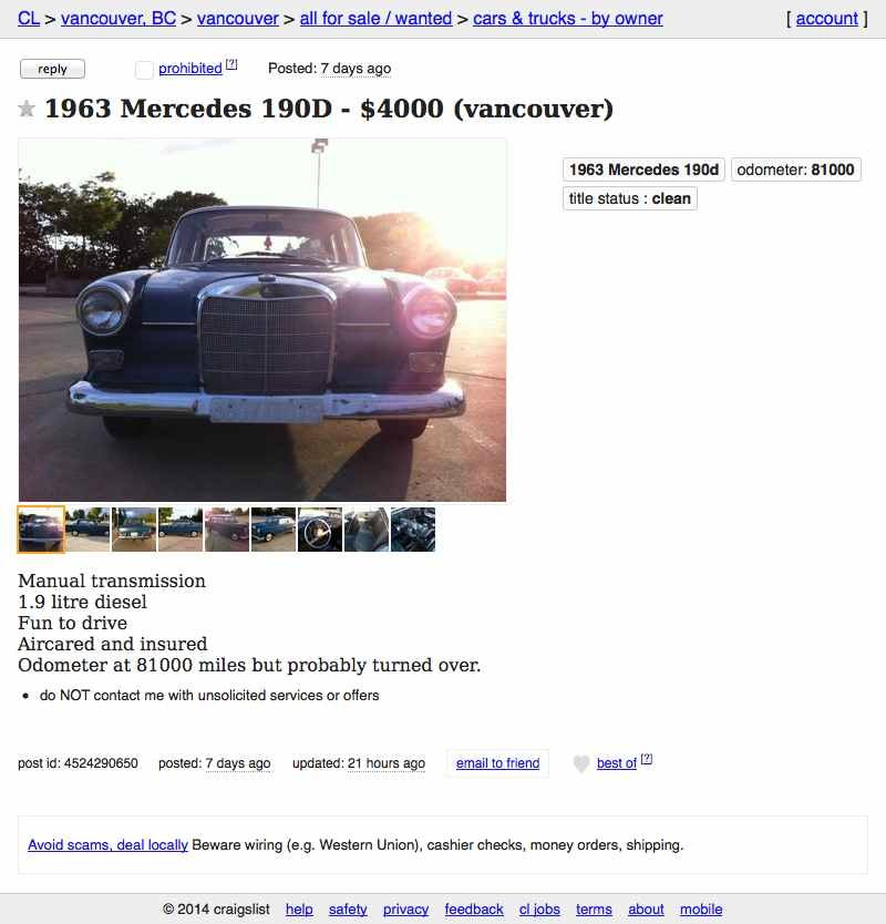 Affordable Vancouver Craigslist Or Go With Cars