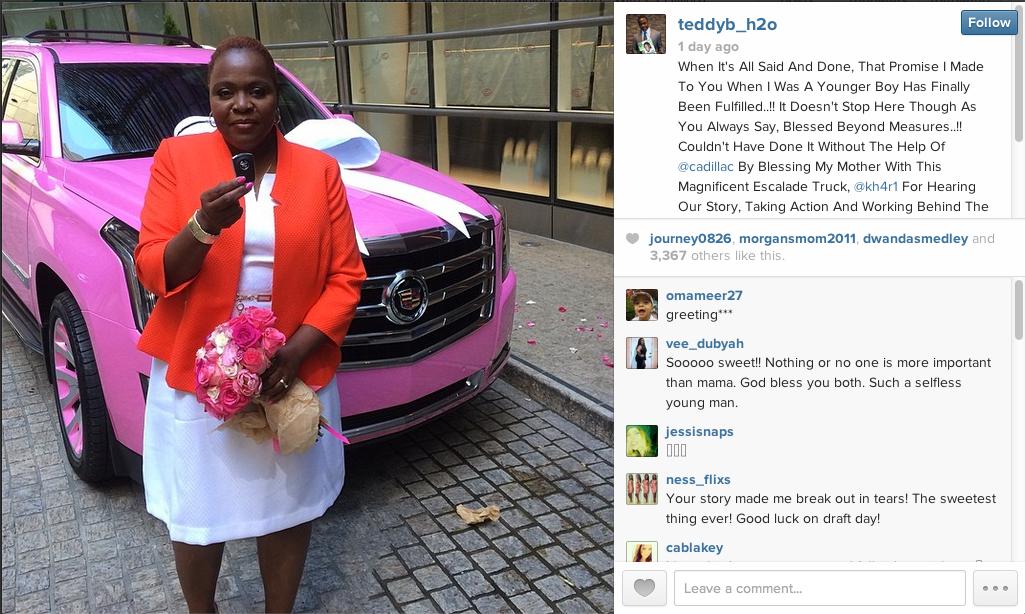 NFL Prospect Teddy Bridgewater Buys Cancer Survivor Mom Pink Es…