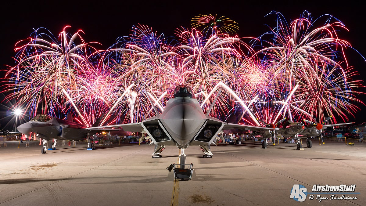 Head on with an F-22 Raptor with fireworks in the background !