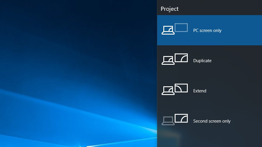 Windows 10 Projector Options