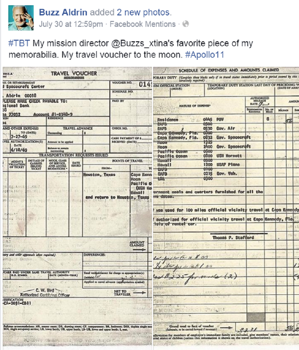 Buzz Aldrin Travel Voucher For Moon Trip Space News
