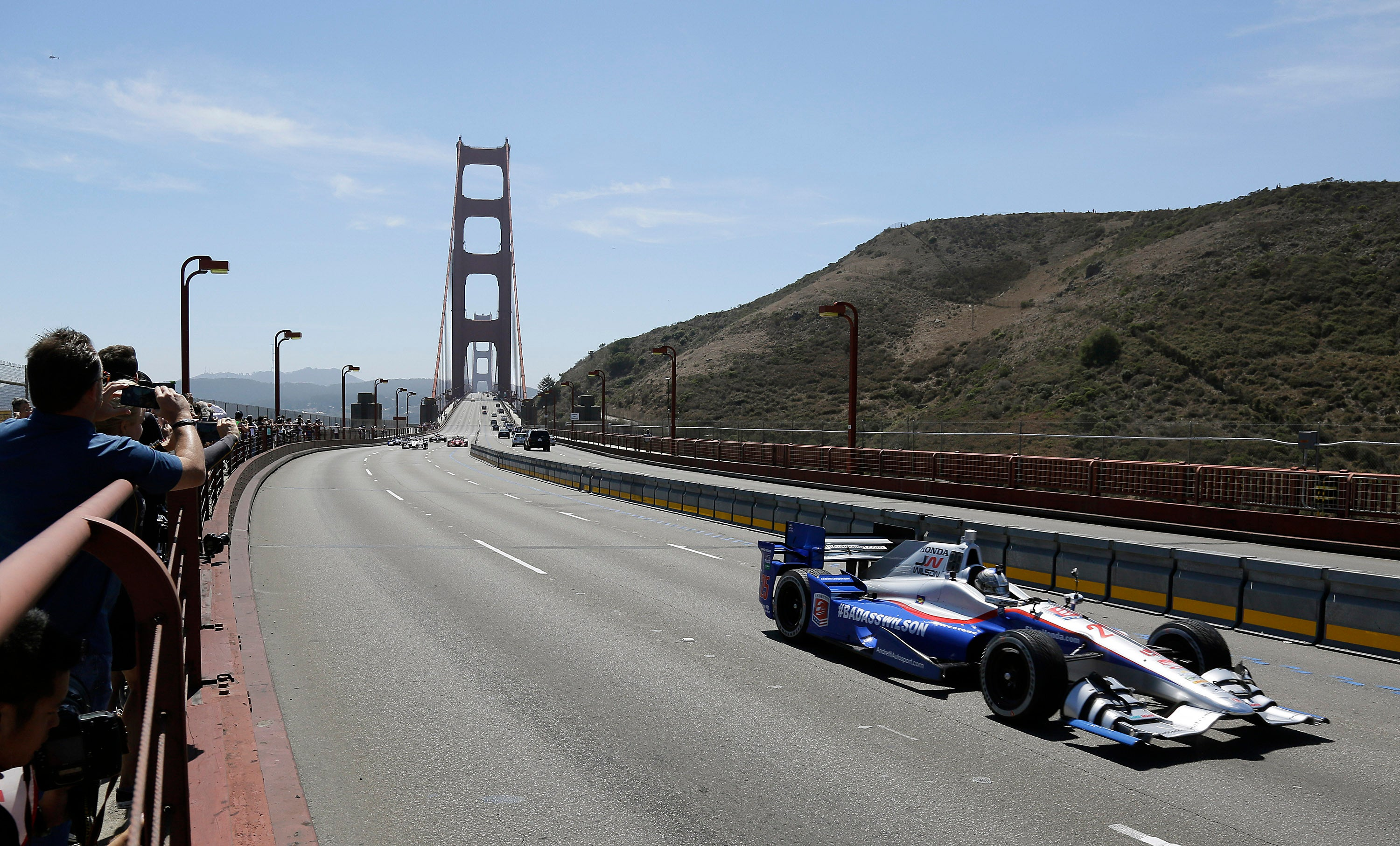 IndyCar driving over the Golden Gate bridge