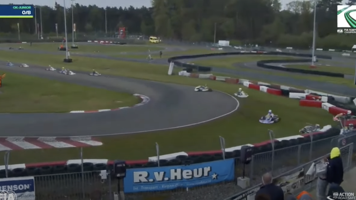 Rainy European FIA Karting Race Start Goes Horribly Wrong