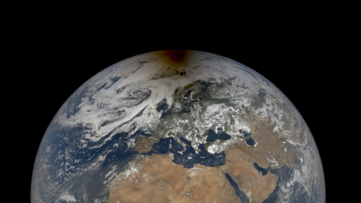 NASA Captures Spooky Photo of the Moon's Shadow on Earth During an Eclipse