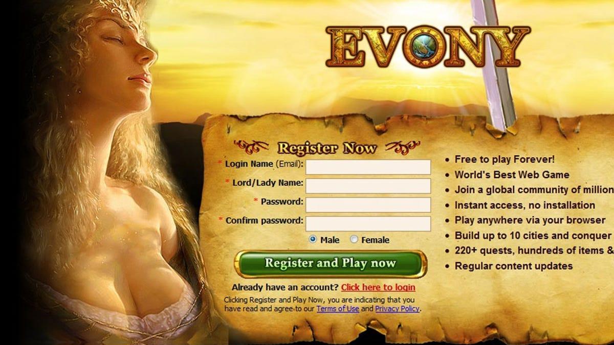 evony free forever login