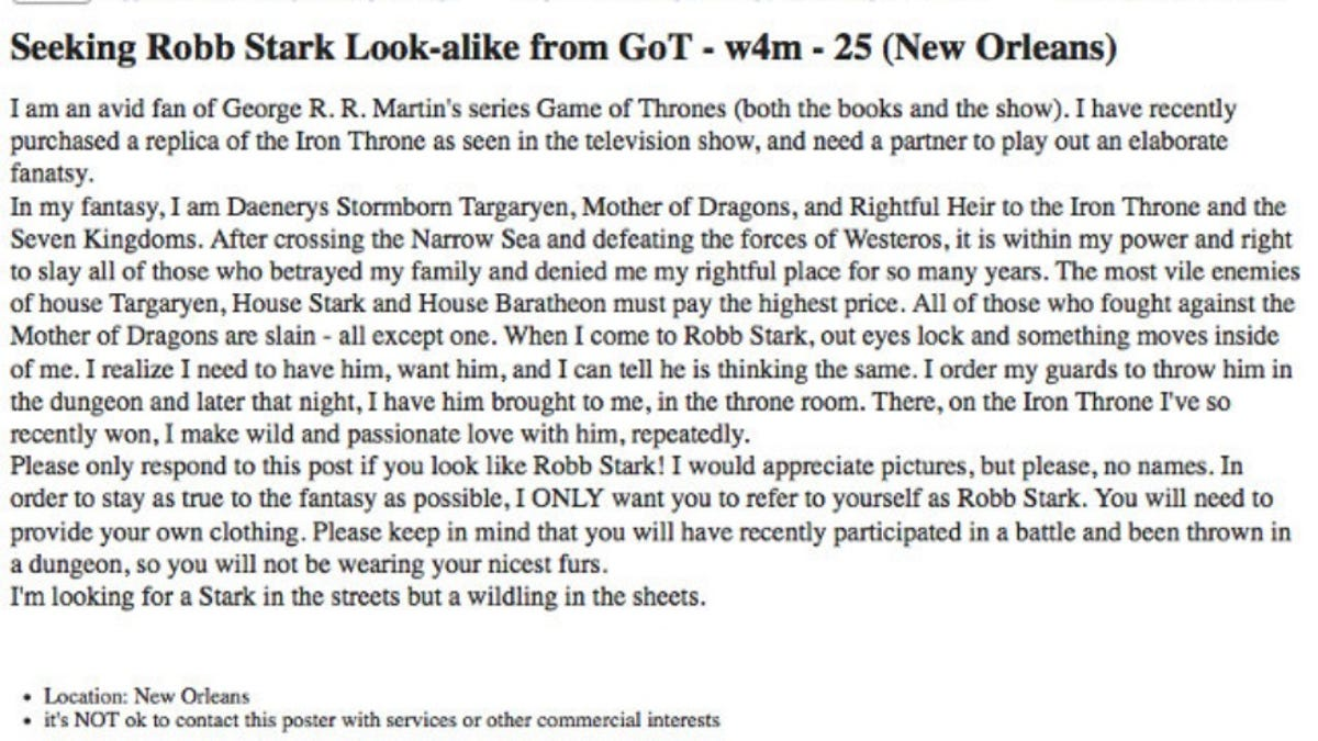 Craigslist Khaleesi Seeks Robb Stark To Bang On Iron Throne