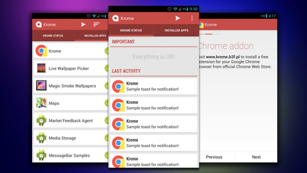 Krome Sends Select Notifications From Your Phone to Your