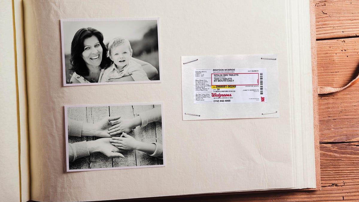 ADHD Prescription Label Stapled Into Baby Book