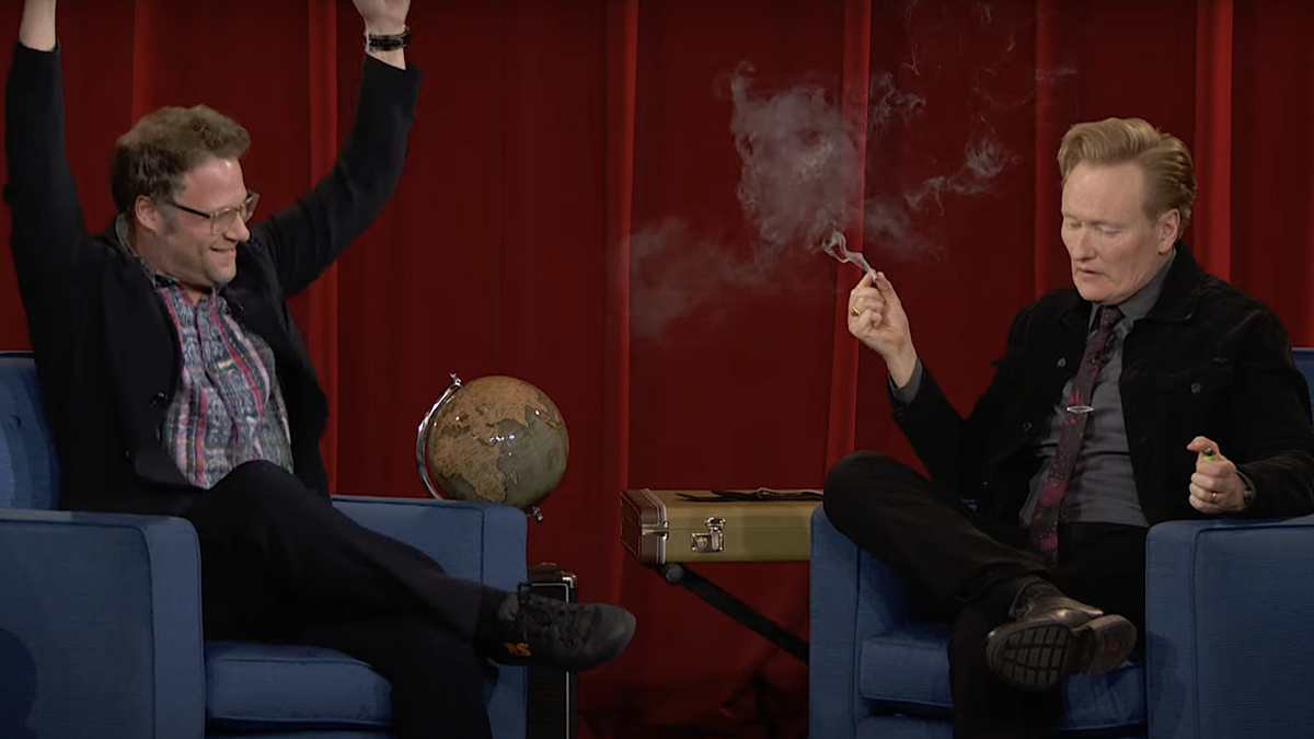 Conan O'Brien finally takes Seth Rogen's advice and smokes weed onstage