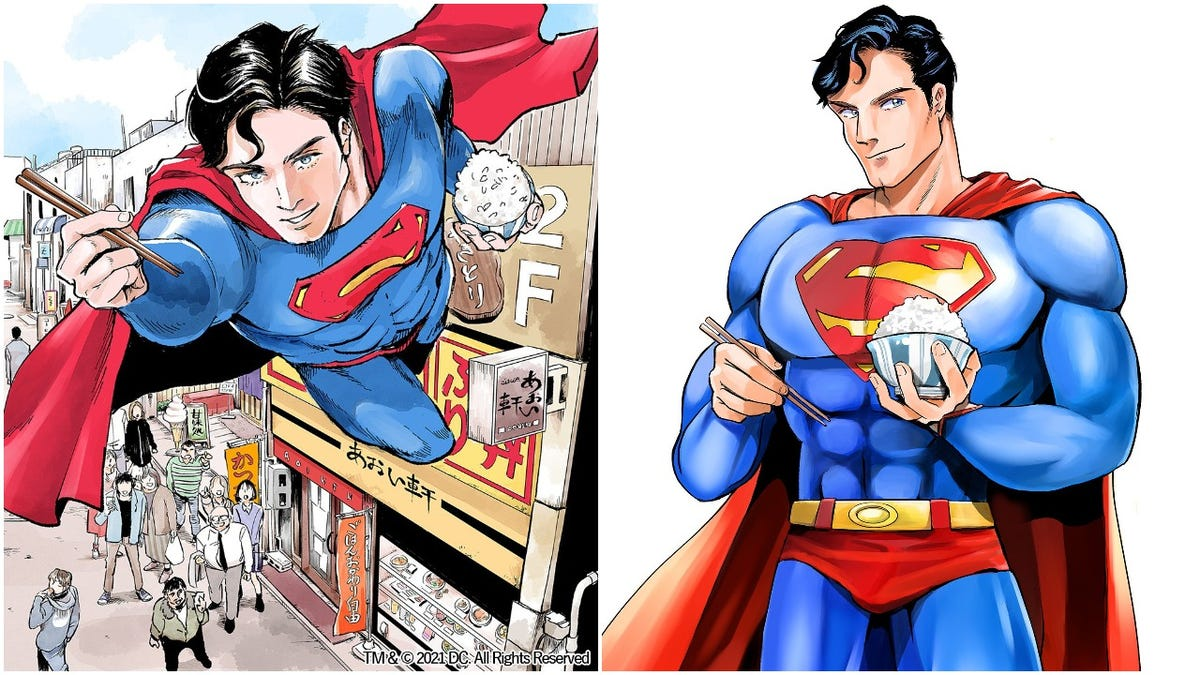 Superman Flying Around, Eating Rice In New Japanese Comic