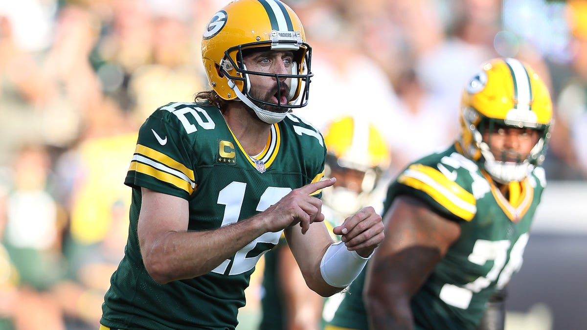 Aaron Rodgers blames first interception of season on getting hit in the nuts (twice)