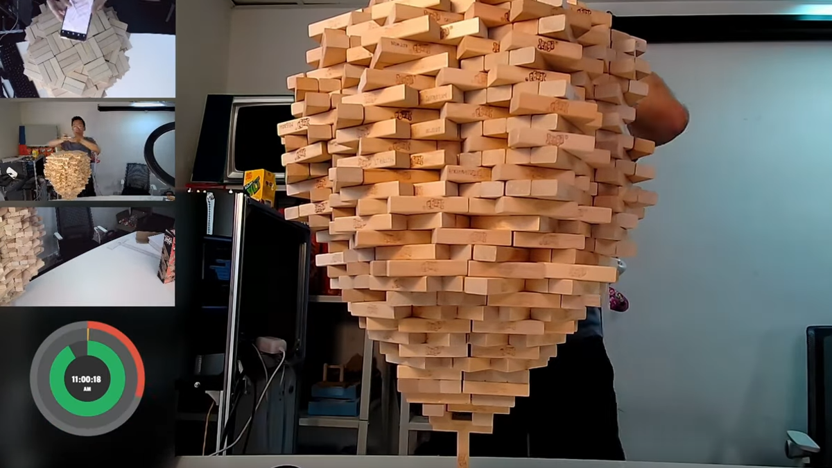 Adult destroys child's Jenga-stacking record and his dreams