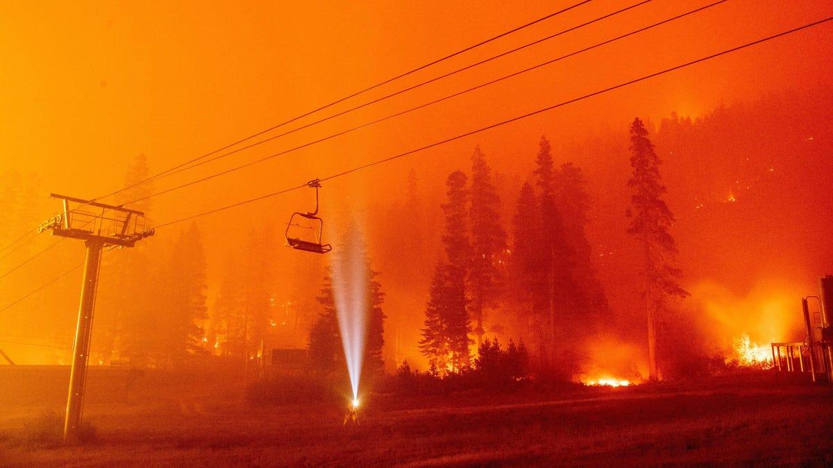 Surreal Photos Show the Fierce Battle Against Caldor Fire at a Tahoe Ski Resort