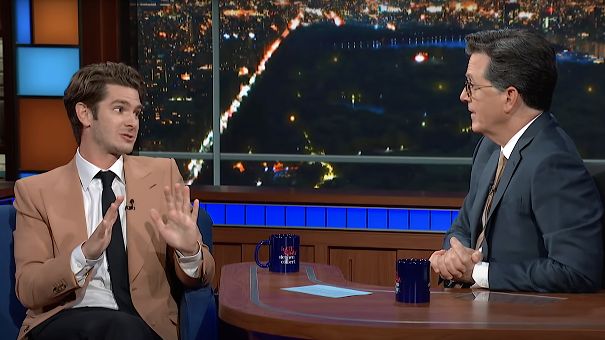 Andrew Garfield gets affectingly real about acting, tells Stephen Colbert he fibbed his way into a musical