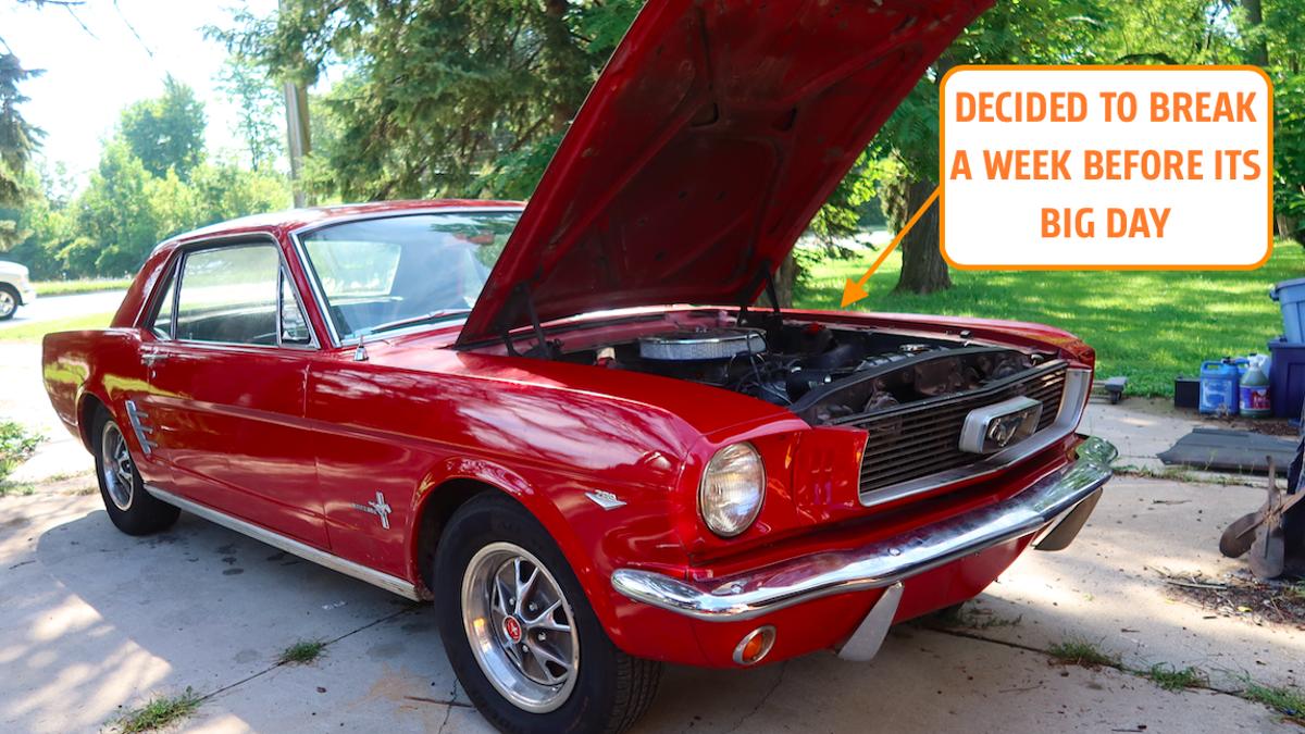 Ich habe meinen 1966er Ford Mustang kaputt gemacht, eine Woche bevor er in einer indischen Hochzeit auftreten soll€