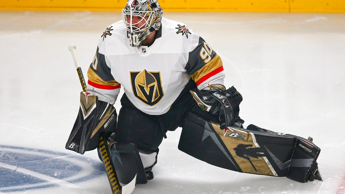 Robin Lehner has big shoes to fill with the Golden Knights, but his feet look about the right size