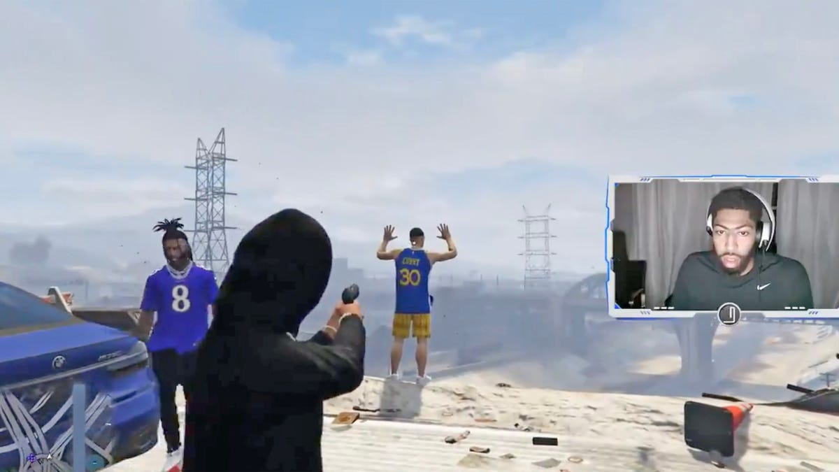 Watch Anthony Davis smoke Steph Curry jersey-wearer in GTA just 12 days before Play-In Tournament - deadspin
