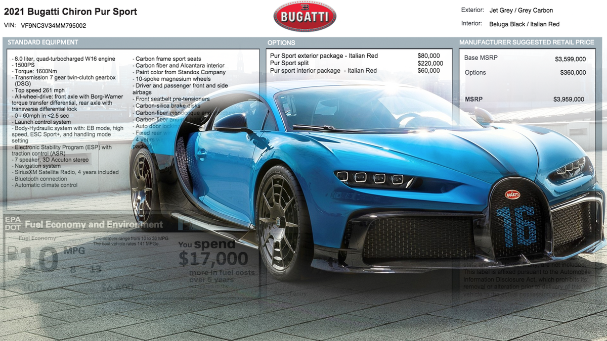 This Is What A $4 Million Bugatti Chiron Window Sticker Looks Like