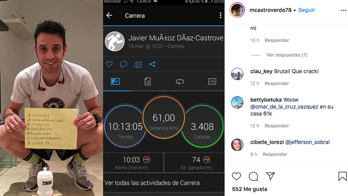 Un hombre en cuarentena por el coronavirus corre un maratón de 61 kilómetros en el salón de la casa