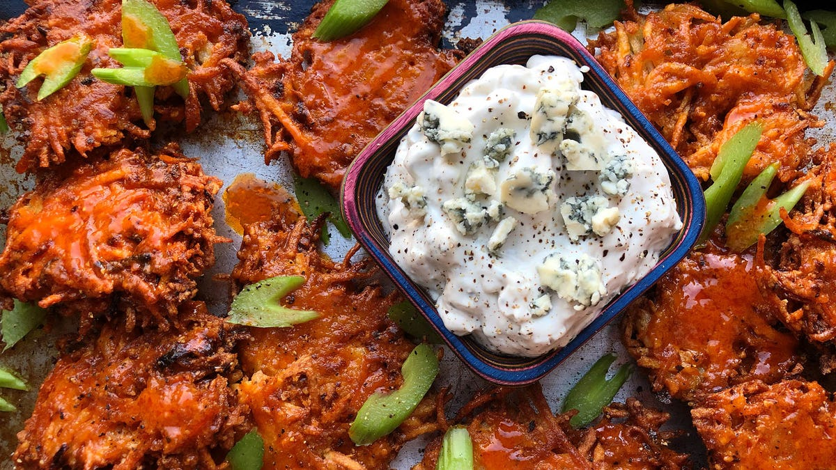 Recipe: Buffalo latkes with blue cheese dip