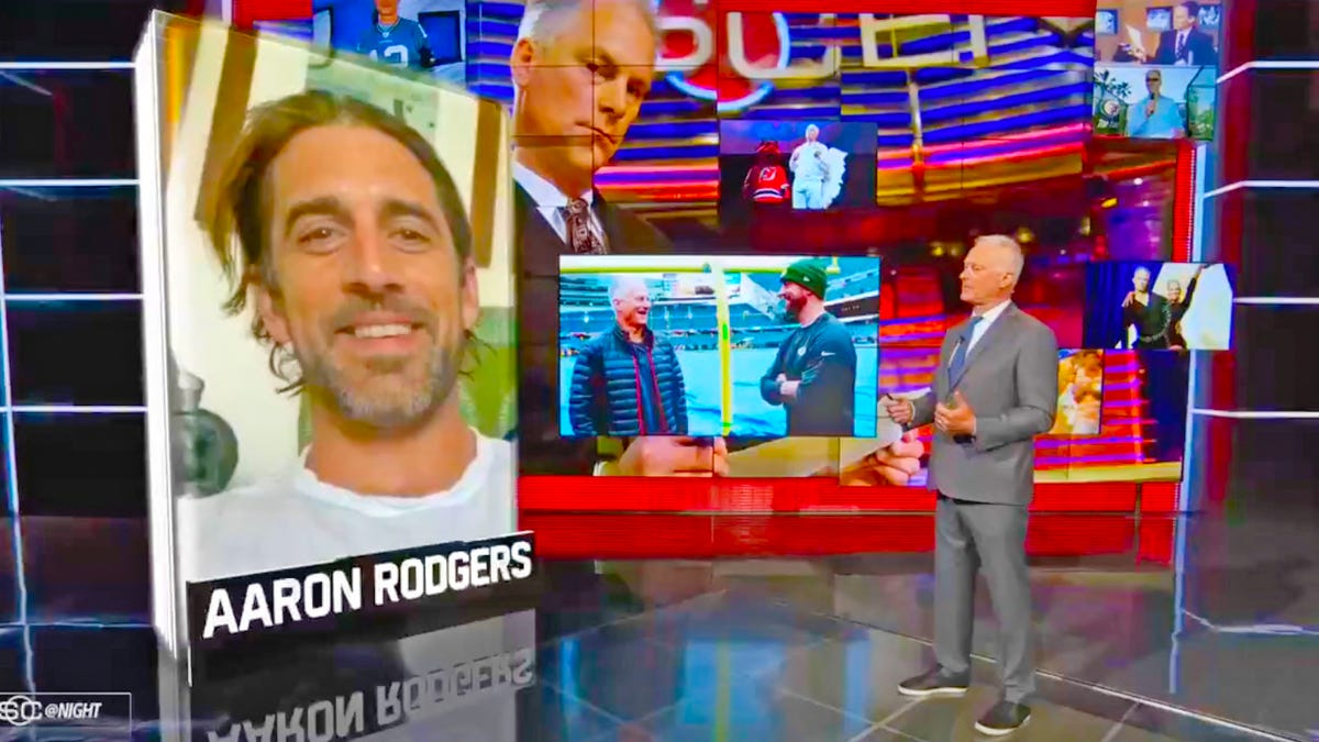 Let's try to translate from whatever language Aaron Rodgers is speaking to Kenny Mayne