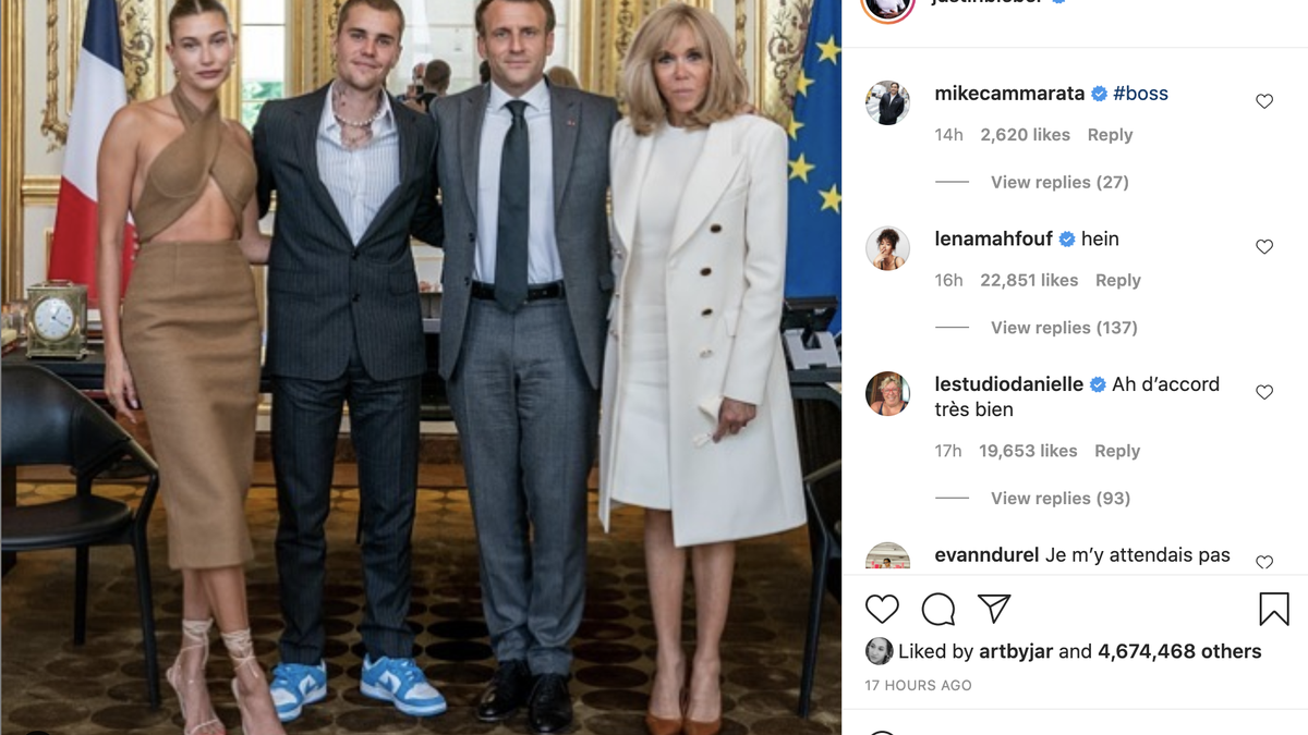 I Have Some Questions about Hailey Bieber's Outfit to Meet French President Emmanuel Macron