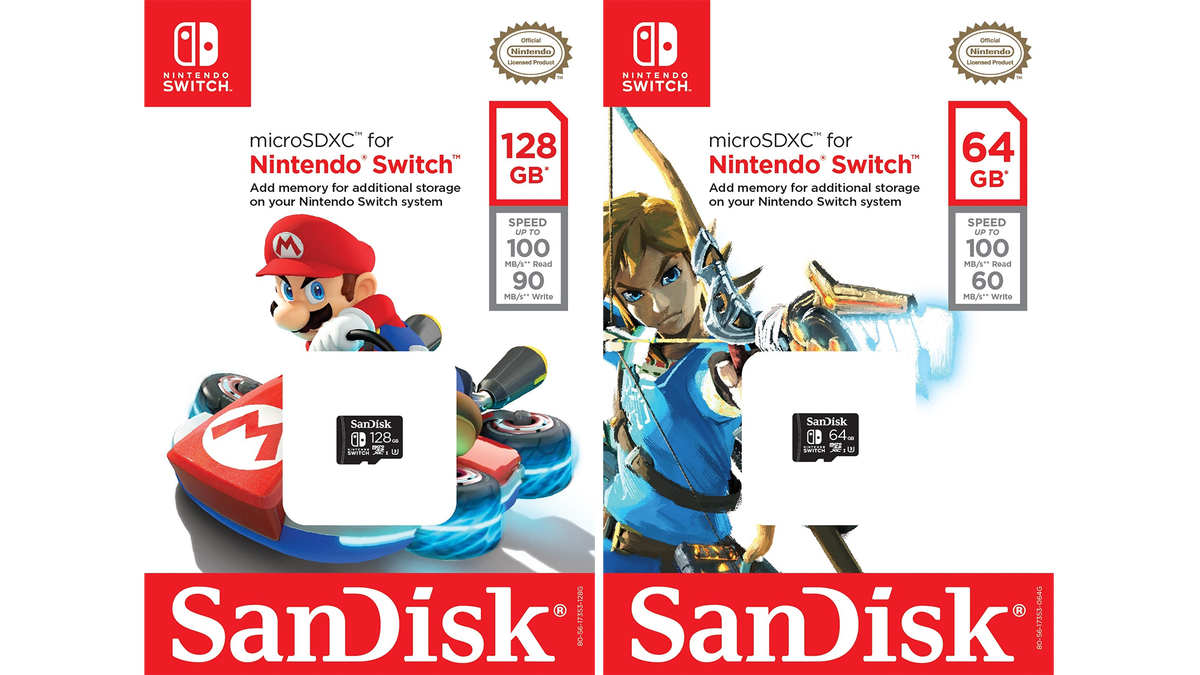 You know a console is doing well when SanDisk starts rolling out licensed SD cards. A partnership between Nintendo and the memory maker will bring branded Switch 64 and 128GB microSDXC cards to stores in October.