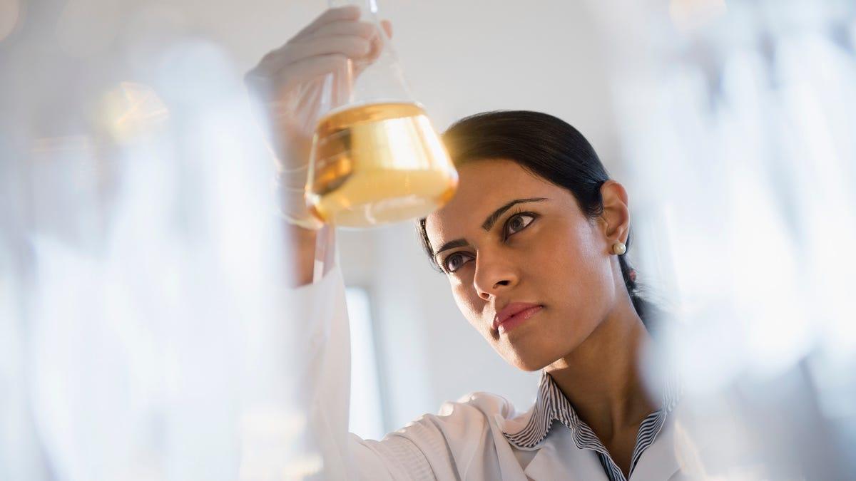 Der Neue Bericht Stellt Fest, Dass Amerikaner Bereit, Um Das Vertrauen Der Wissenschaftlichen Kenntnisse Von Jedermann Hält Becherglas Bis Zu Licht