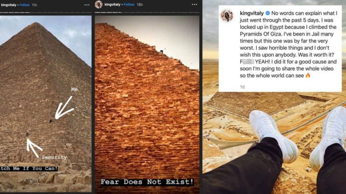 """Influencer de Instagram y YouTube sube a la cima de la Gran Pirámide de Guiza al grito de """"¡El miedo no existe"""