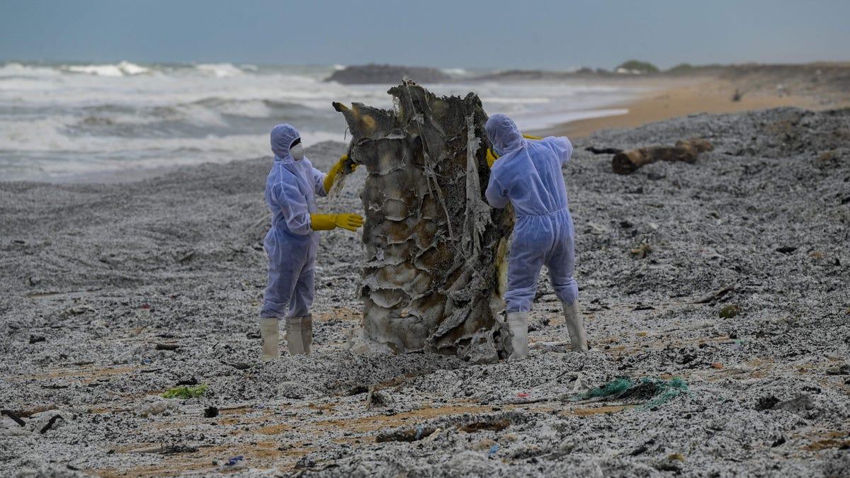 Plastic Waste from Burning Ship Buries Sri Lanka's Coastline thumbnail