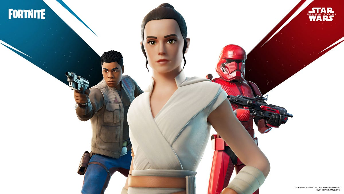 To go with the already-released Stormtrooper, Fortnite has got some extra Star Wars stuff in the form of skins for Rey, Finn and a Sith Trooper.